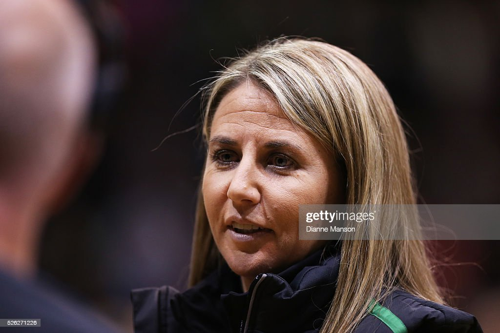 Stacey Rosman coach of the Fever speaks with SkyTv during the ANZ Championship match between the Steel and the Fever on April 30, 2016 in Invercargill, New Zealand.