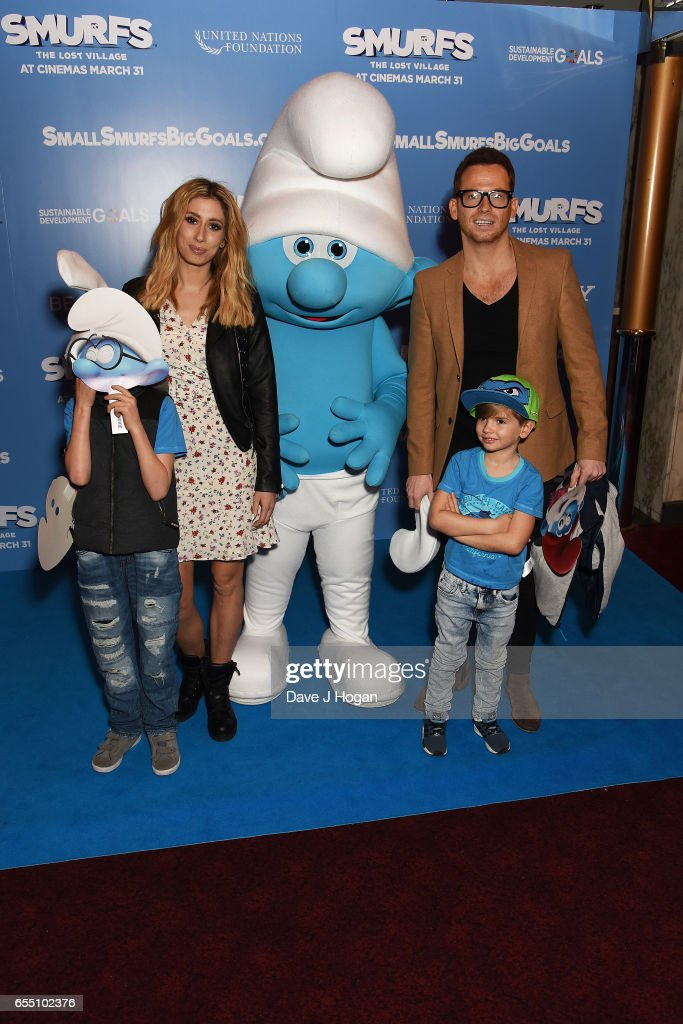 Stacey Solomon and Joe Swash attend the Gala Screening of 'Smurfs: The Lost Village' at Cineworld Leicester Square on March 19, 2017 in London, England.