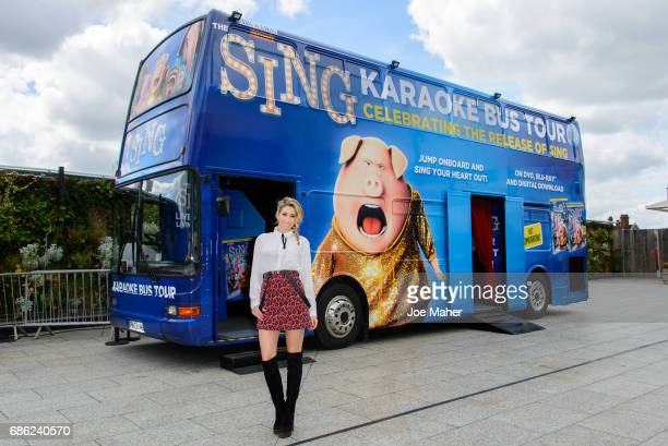 Stacey Solomon launches the Nationwide 'Sing' Karaoke bus tour in aid of Chickenshed at Westfield London on May 21 2017 in London England