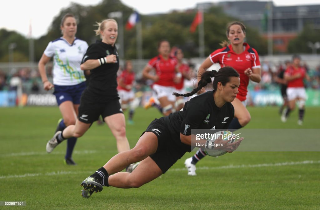 Stacey Waaka of New Zealand dives over for a try during the Women's Rugby World Cup 2017 Group A match between New Zealand and Hong Kong at Billings Park UCD on August 13, 2017 in Dublin, Ireland.