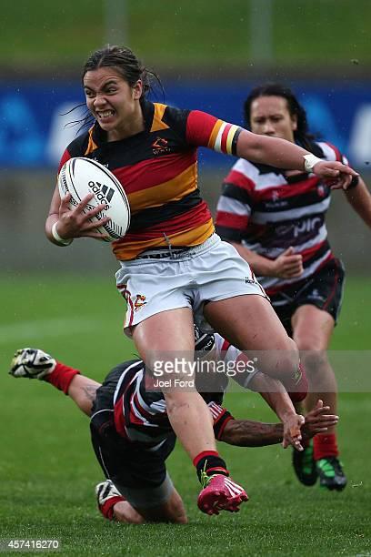 Stacey Waaka of Waikato breaks a tackle during week 9 of the Women's Provincial Championship match between Counties Manukau v Waikato at Waikato...