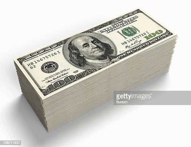 Stack of 100 Dollar Bill Paper Currency