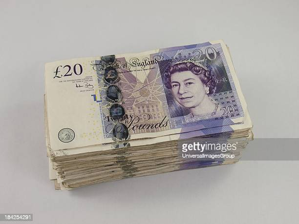 Stack of £4000 in twenty pound notes UK