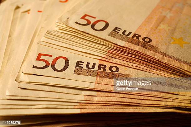A stack of 50 euro banknotes