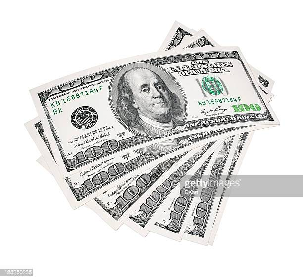 Stack of American $100 bills on a white background