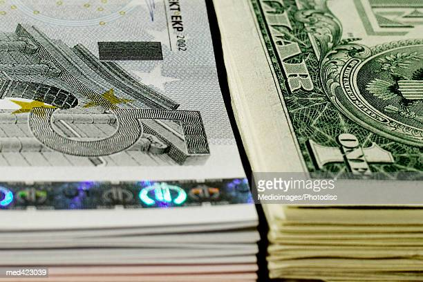 Stack of American and Euro bank notes