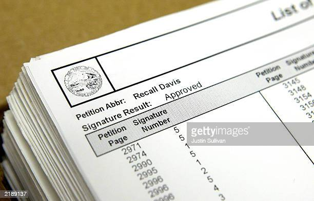 A stack of approved signatures to recall California Governor Gray Davis is seen at the Contra Costa County Registrar of Voters office July 23 2003 in...