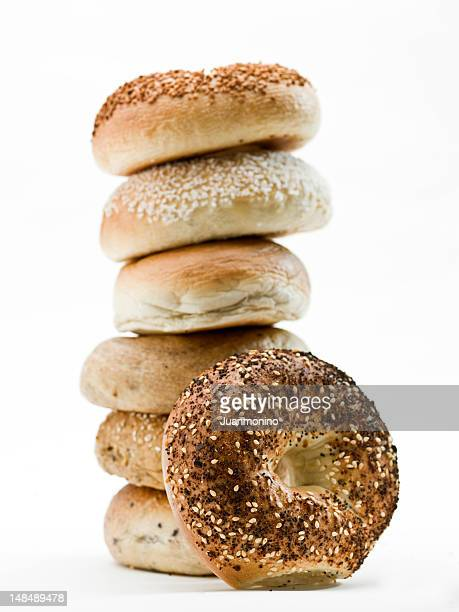 Stack of assorted bagels