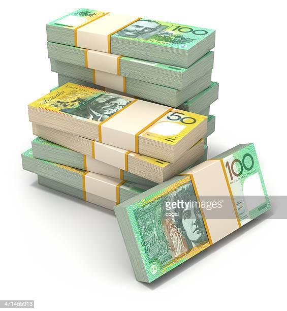 Stack of Australian Dollar bills.