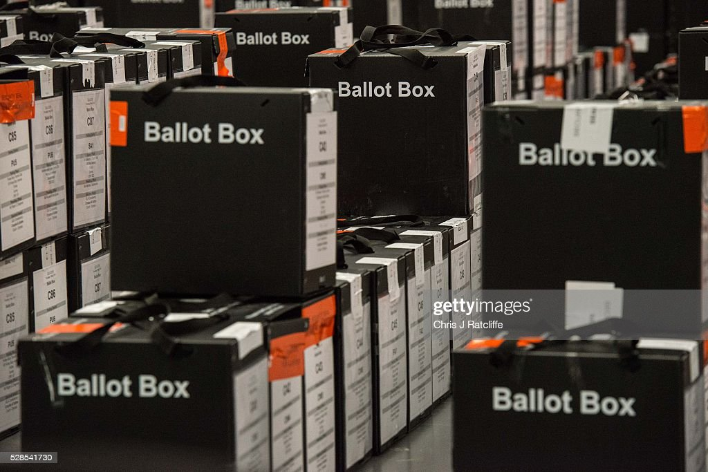 A stack of ballot boxes ready to be opened during the London Mayoral and Assembly election count at Kensington Olympia on May 6, 2016 in London, England. This is the fifth mayoral election since the position was created in 2000. Previous London Mayors are Ken Livingstone for Labour and more recently Boris Johnson for the Conservatives. The main candidates for 2016 are Sadiq Khan, Labour, Zac Goldsmith, Conservative, Sian Berry, Green, Caroline Pidgeon, Liberal Democrat, George Galloway, Respect, Peter Whittle, UKIP and Sophie Walker, Wonmen's Equality Party.