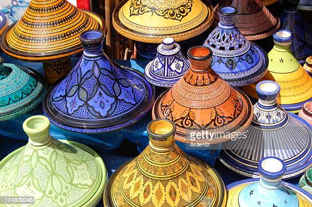 Stack of beautiful colored Moroccan Tajine pots
