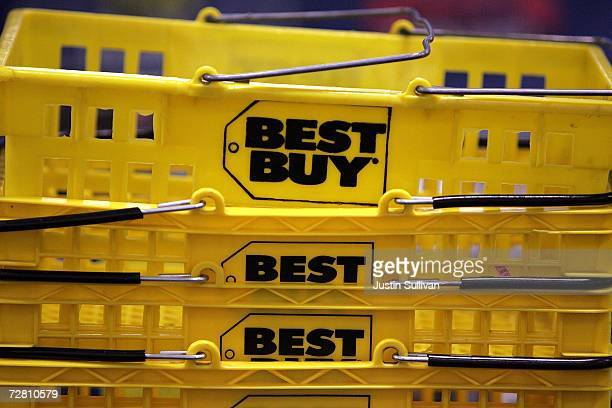 A stack of Best Buy shopping baskets are seen at a Best Buy store December 12 2006 in San Francisco Best Buy Co reported that thirdquarter earnings...