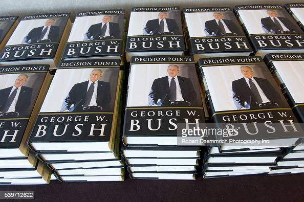 A stack of biographies of former US President George W Bush as he reflects on his challenging eight years in office during a onehour speech to the...