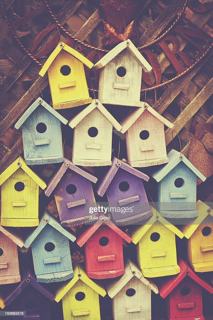 Stack of birdhouses : Stock Photo