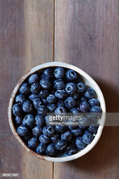 Stack of blueberries in bowl