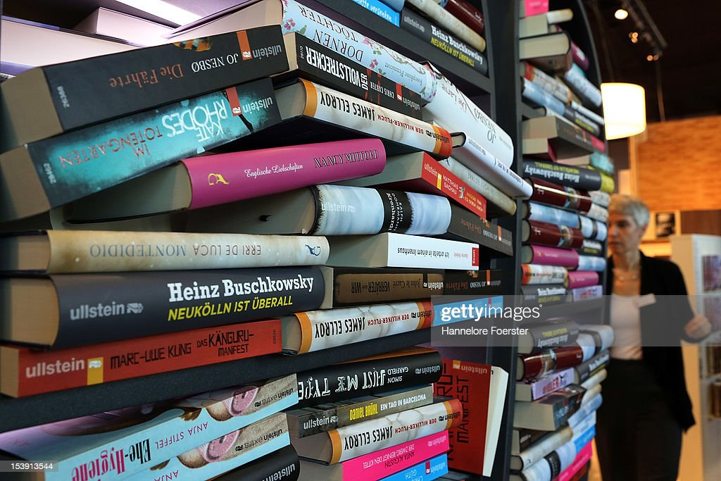 A stack of books at the Frankfurt Book Fair on October 11, 2012 in Frankfurt, Germany. The Frankfurt Book Fair is the largest in the world and will run from October 10-14, 2012.on October 11, 2012 in Frankfurt am Main, Germany.