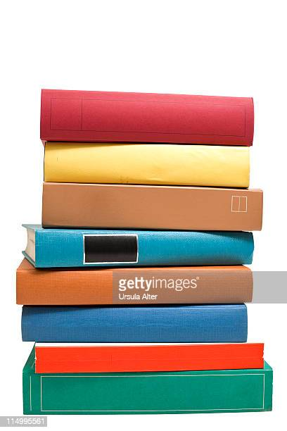 stack of books with clipping path