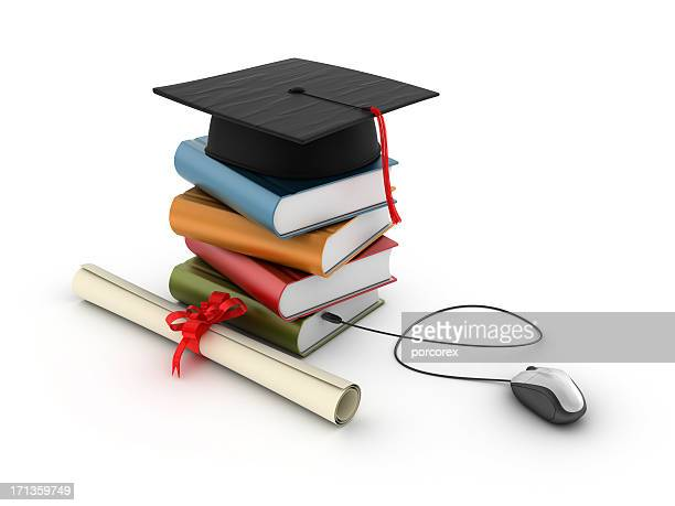 Stack of Books with Graduation Cap and Computer Mouse