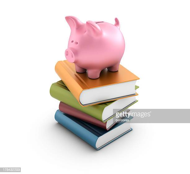 Stack of Books with Piggy Bank