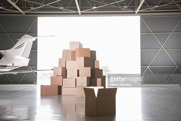 Stack of boxes in hangar