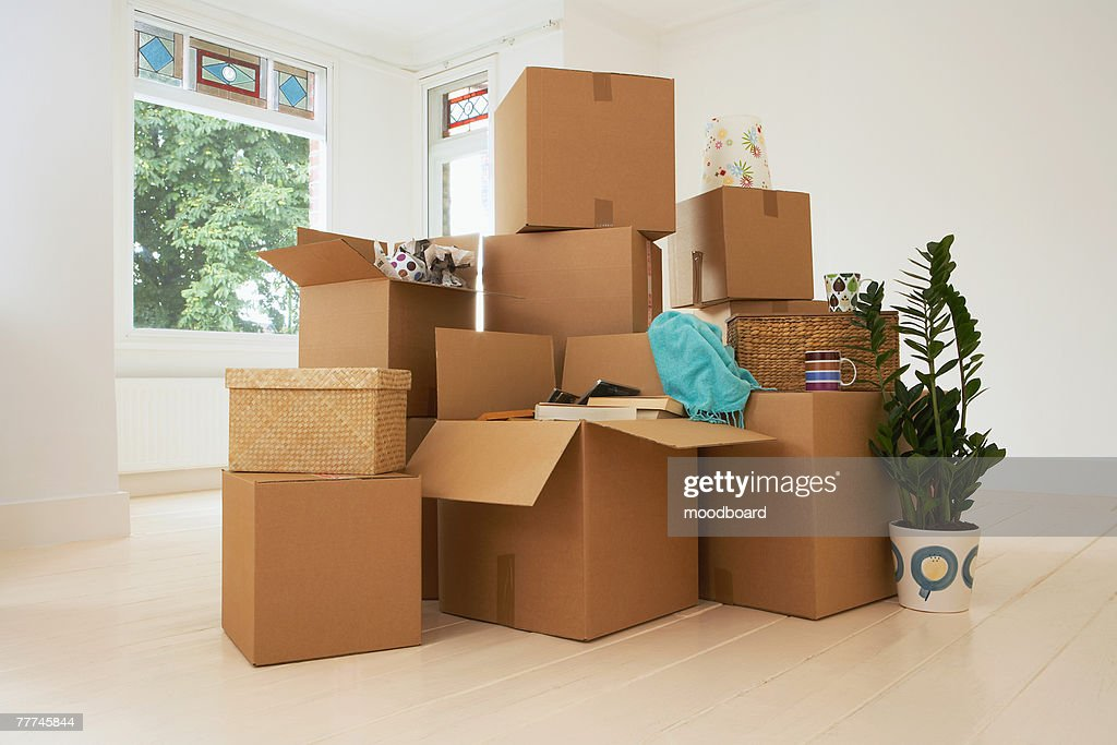 Stack of Boxes in New House : Stock Photo