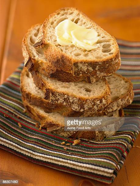 Stack of bread with butter
