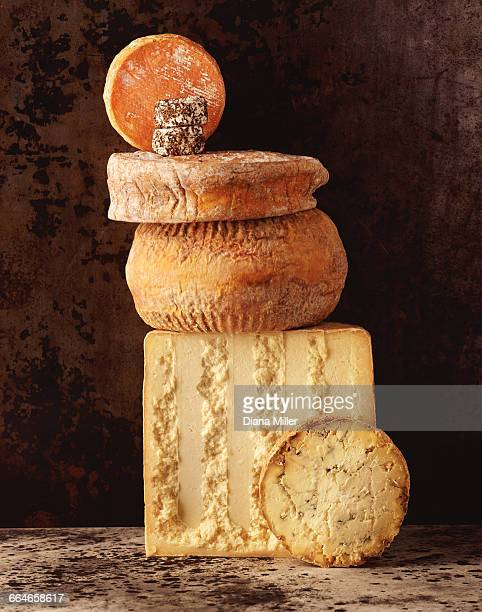 Stack of British cheeses