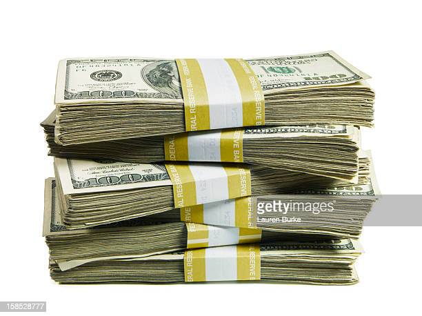 A stack of bundled hundred US dollar bills