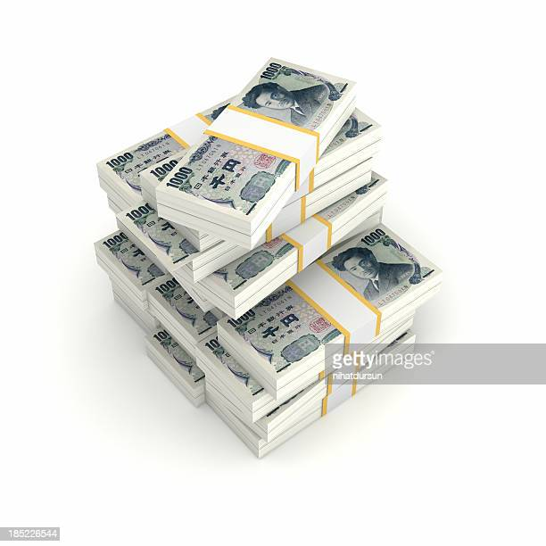 Stack of Bundled Yen Bills