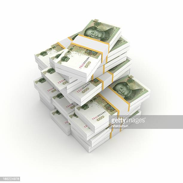 Stack of Bundled Yuan Bills