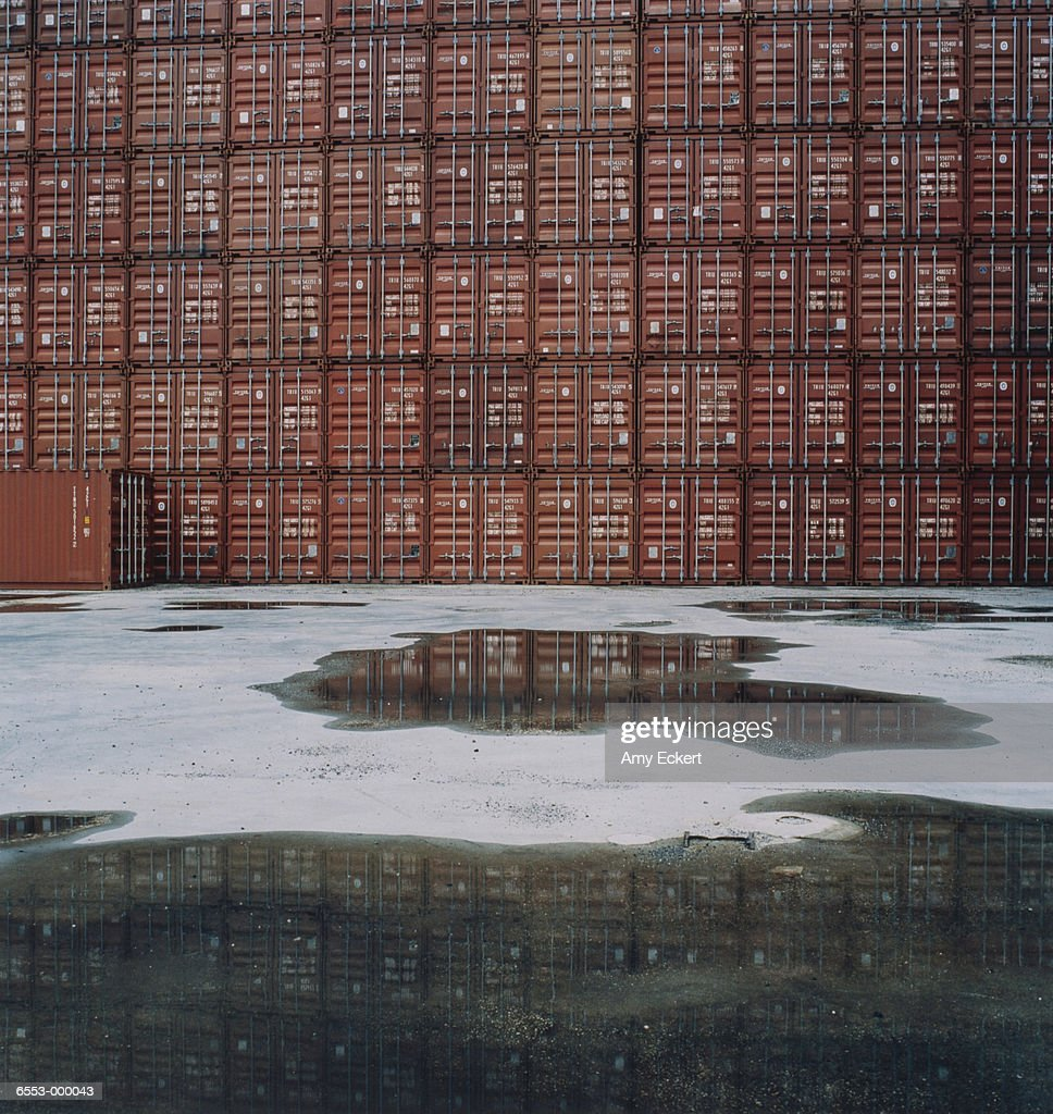 Stack of Cargo Containers : Stock Photo
