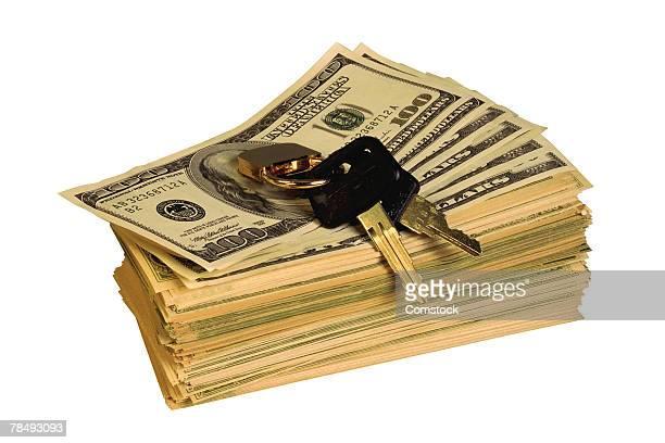 Stack of cash and car keys