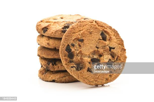 Stack of chocolate chip cookies isolated on white background