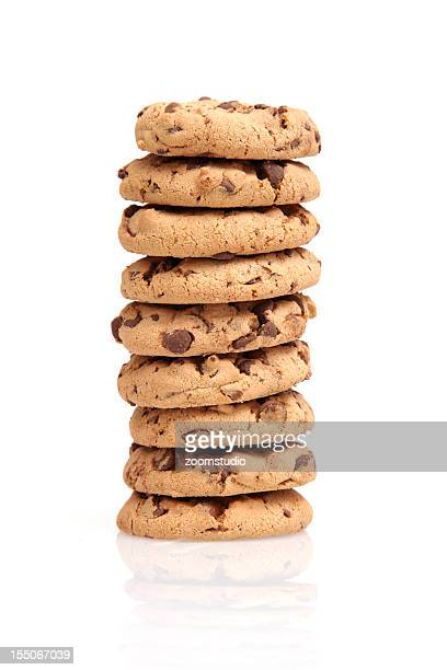 Stack of chocolate chip cookies on a white background