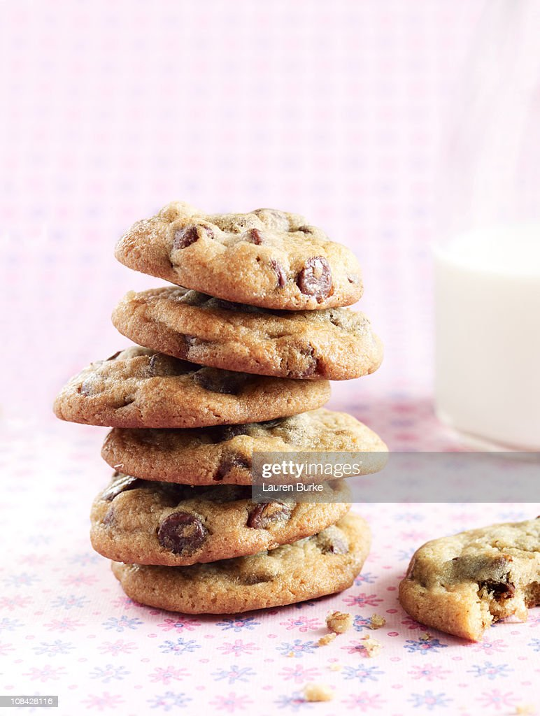 Stack of Chocolate Chip Cookies with Milk : Stock Photo