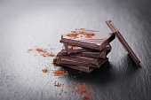 Stack of chocolate chunks on a dark stone background with cocoa, closeup, horizontal with copy space