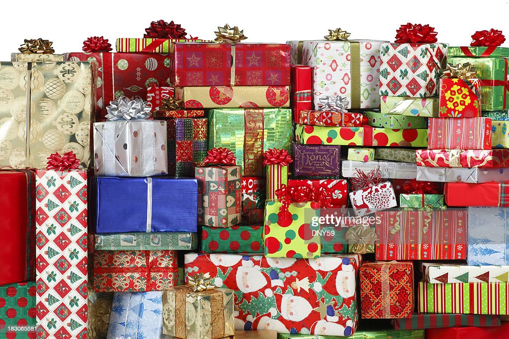 Stack of christmas presents stock photo getty images