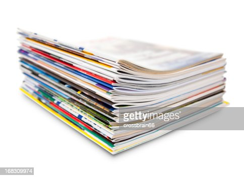 stack of color magazine
