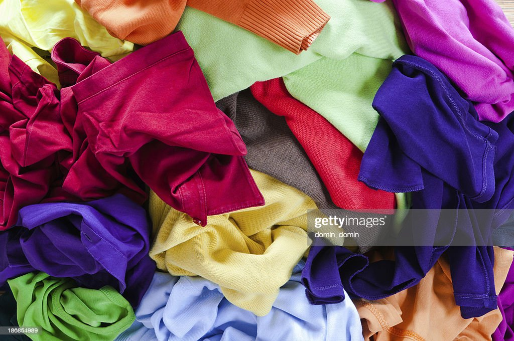 Stack of colourful clothes
