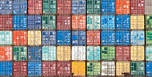 Stack of containers in the harbor of Antwerpe, Belgium