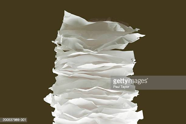Stack of crumpled papers, close-up