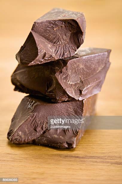Stack of dark chocolate chunks