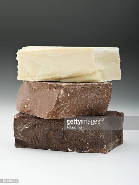 Stack of dark, milk and white chocolate