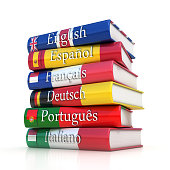 Stack of dictionaries, learning foreign language