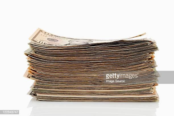 Stack of dollar banknotes