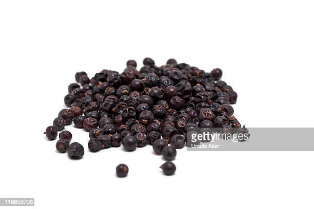 Stack of dried juniper berries