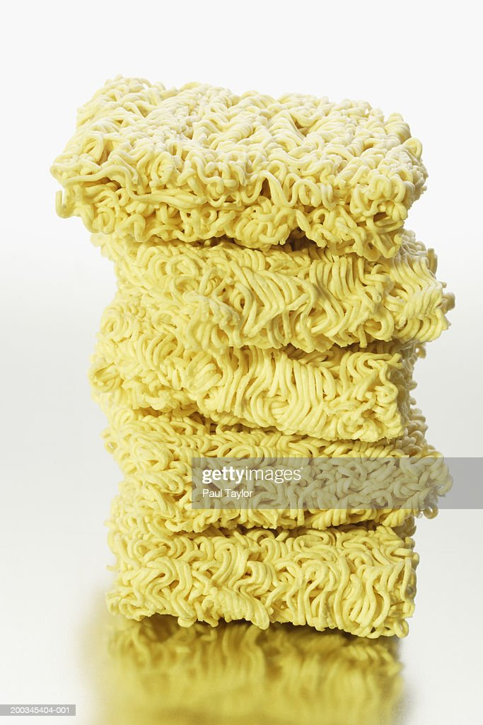 Stack of dry noodles : Stock Photo