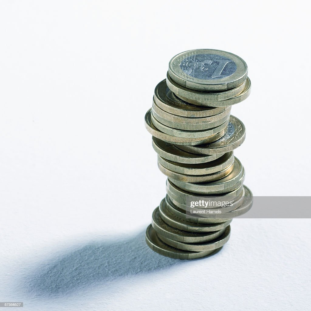 Stack of euro coins : Stock Photo