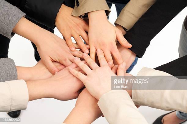Pile de femme mains Unity.Isolated.