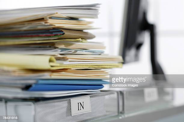 Stack of files in inbox